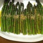 "Roasted asparagus with ""Tastes Like Caesar"" Dressing"