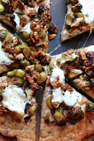 Brussels Sprout and Walnut Pizza with Whole Wheat Flax Crust