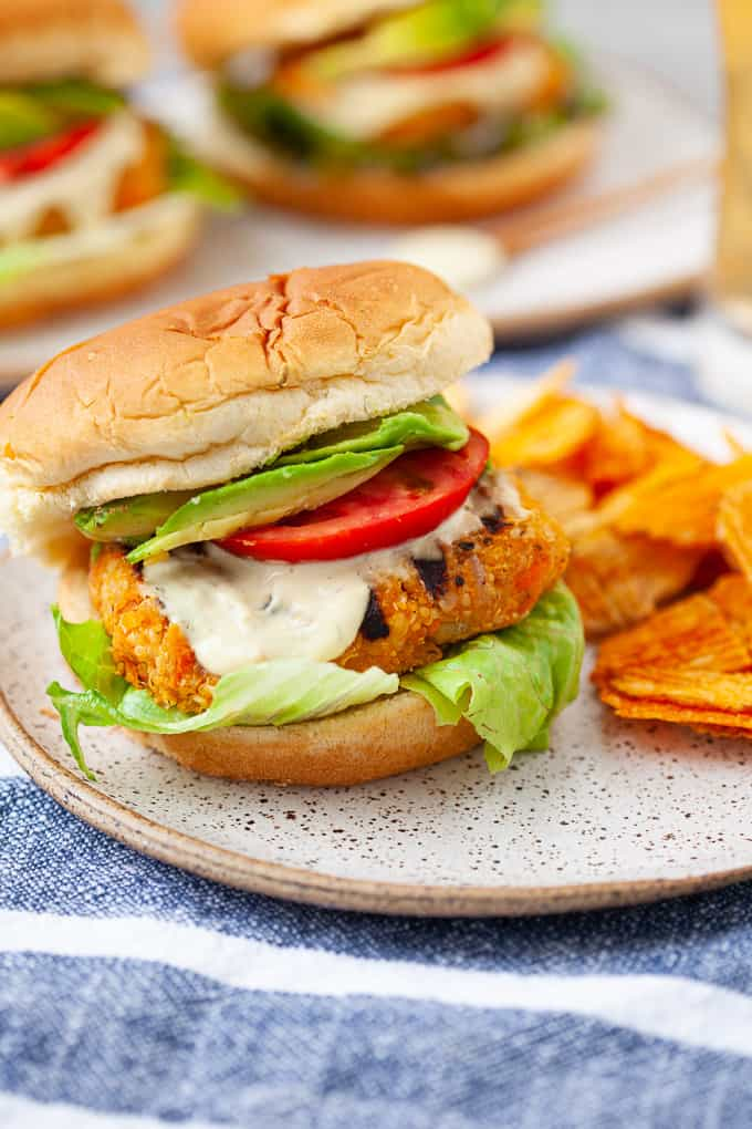 buffalo chickpea veggie burgers with vegan blue cheese dressing