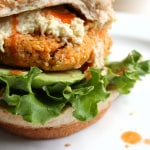 "Buffalo Chickpea Quinoa Burgers with ""Blue Cheese"" Dressing"
