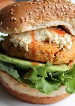 Buffalo Chickpea Quinoa Veggie Burgers