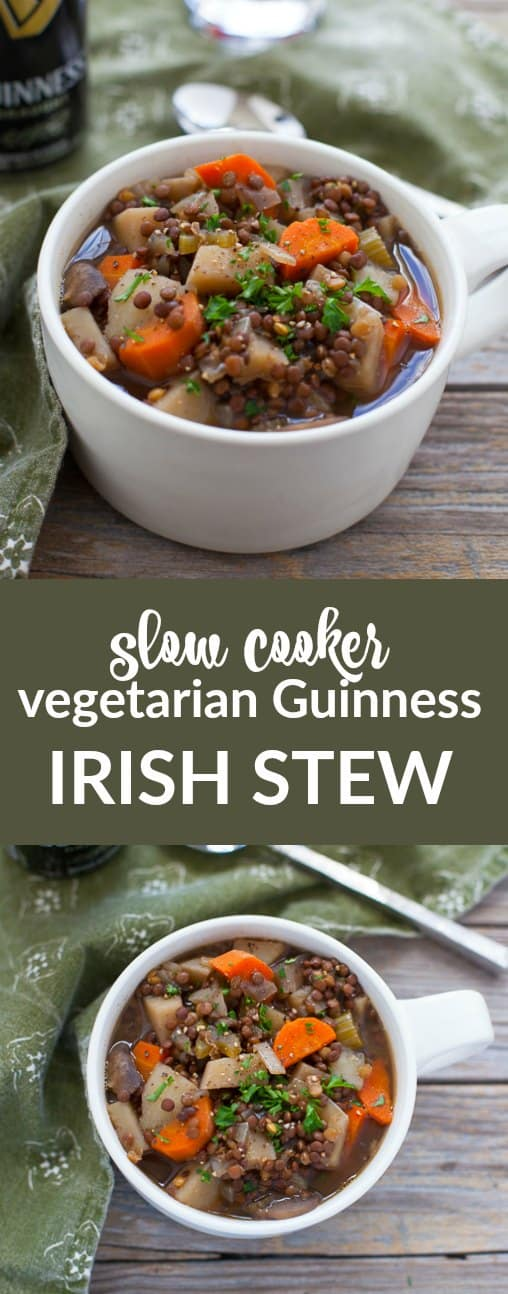 Ready for St. Patrick's Day? You will be with this hearty Slow Cooker Vegetarian Guinness Irish Stew, perfect for St. Paddy's or any cold winter night.