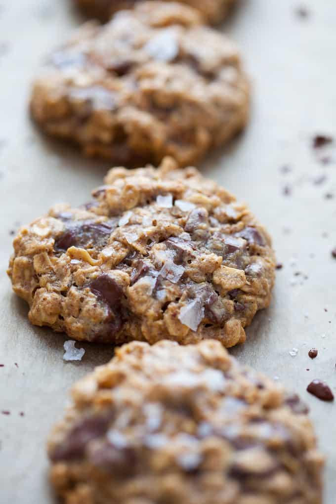 Almond Butter Oatmeal Dark Chocolate Chunk Cookies
