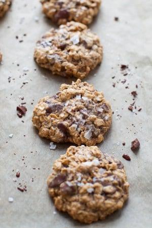 Dark Chocolate Almond Butter Cookies with Sea Salt