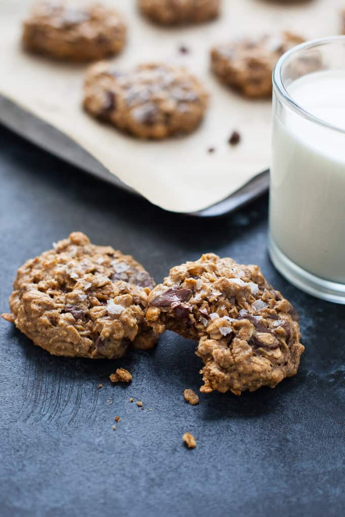 Dark Chocolate Almond Butter Oatmeal Cookies with Sea Salt