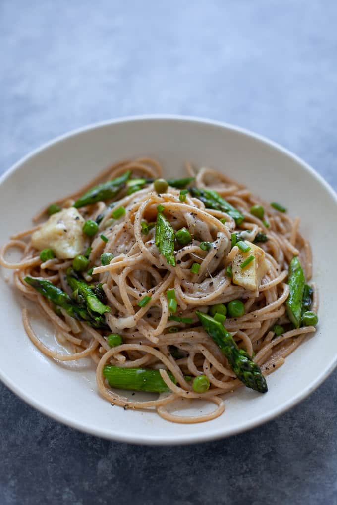 spring vegetable cacio e pepe