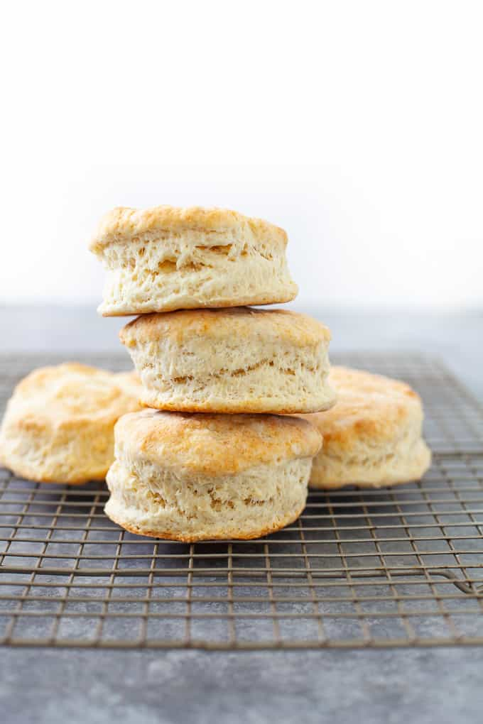 fresh biscuits on cooling rack