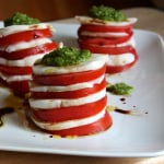 Tomato Mozzarella Salad with Garlic Scape Pesto
