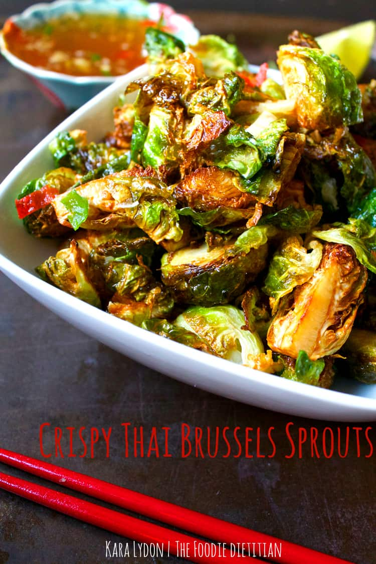 Crispy Brussels sprouts tossed in an authentic Thai chili fish sauce for a side dish you won't forget! | The Foodie Dietitian @karalydon