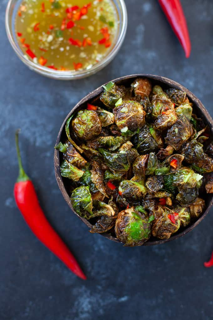 crispy Thai brussels sprouts with red peppers