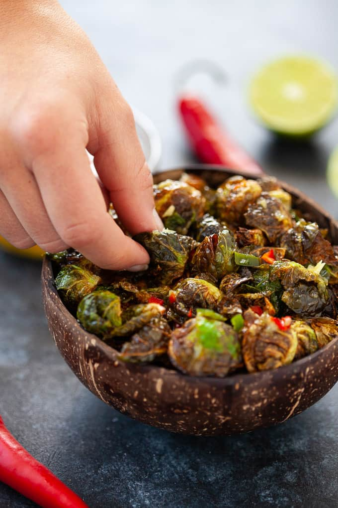 bowl of crispy Thai brussels sprouts
