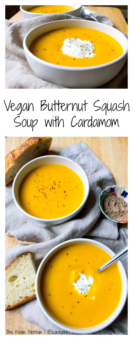 A spiced vegan butternut squash soup with cardamom, made extra creamy with coconut milk. Perfect soup for the fall and the holidays! | The Foodie Dietitian @karalydon