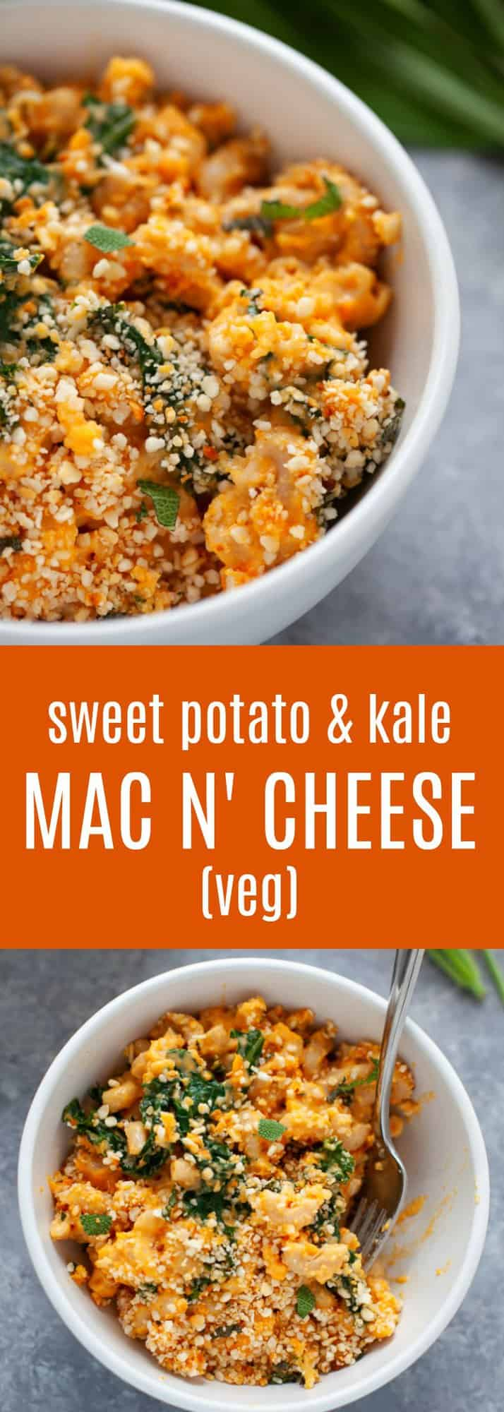 An inspired and elevated classic comfort food staple, this sweet potato mac and cheese with kale is packed with the sweet taste of sweet potato and the earthy, savory flavor of sage. Plus, the added veggies help make this a more balanced pasta dish! #macandcheese #sweetpotato #fall #vegetarian #healthy