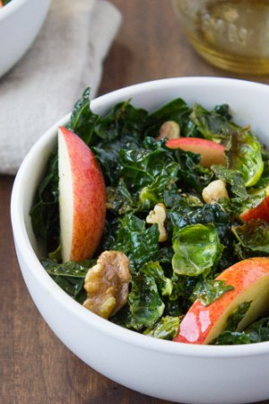 Harvest Kale Salad with Pumpkin Seed Oil Dressing| The Foodie Dietitian @karalydon