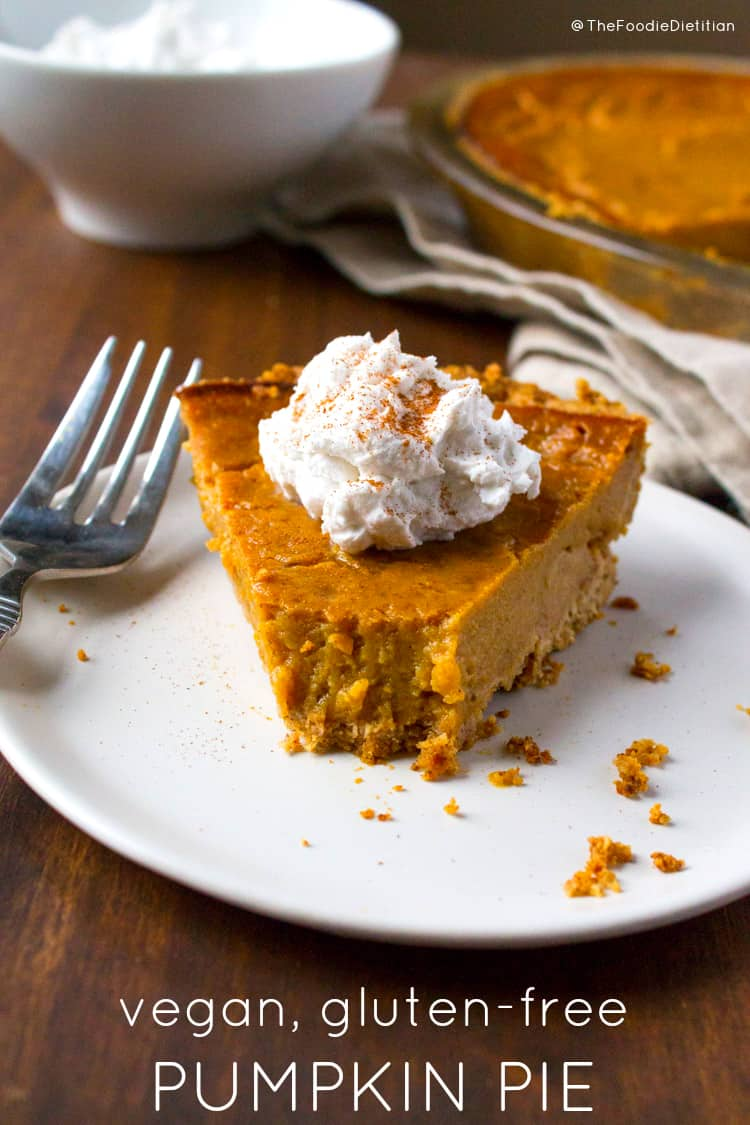 Vegan gluten-free pumpkin pie is so delicious that your Thanksgiving guests won't know the difference. Made with less sugar too! The secret ingredient to its creamy deliciousness? Silken tofu. | @TheFoodieDietitian