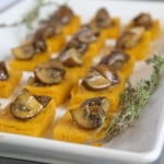 Sweet Potato Polenta Bites with Thyme-Marinated Mushrooms