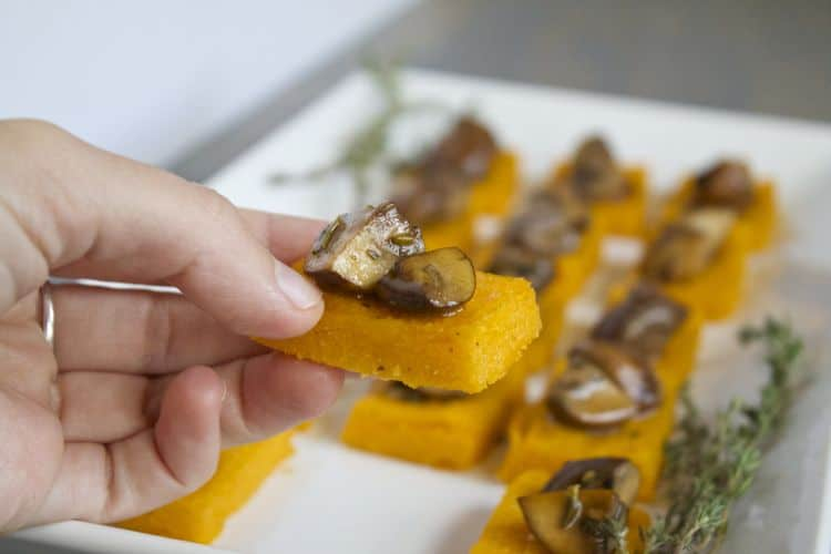 Sweet Potato Polenta Bites with Thyme Mushrooms | @TheFoodieDietitian