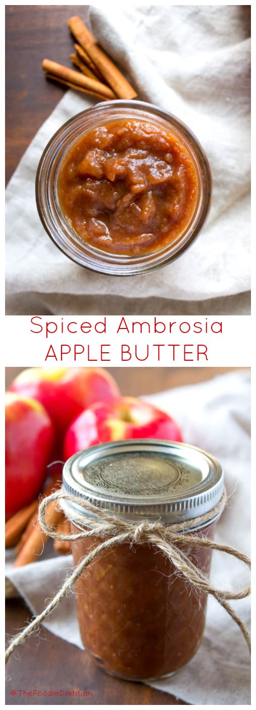 A fun DIY holiday foodie gift, this 4 ingredient spiced Ambrosia apple butter is quick and easy to make in the slow cooker and fun to dress up as a festive gift! | @TheFoodieDietitian