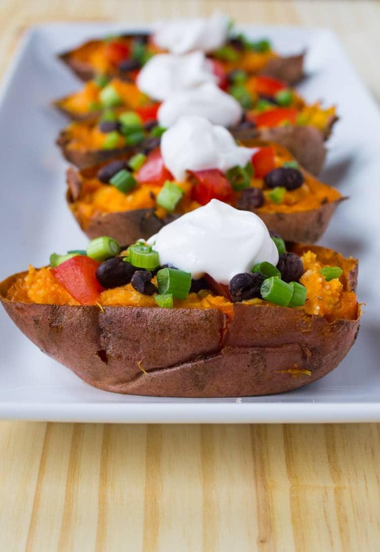 Vegan Loaded Sweet Potato Skins | @TheFoodieDietitian