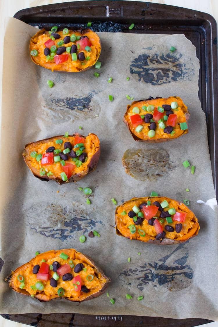 Vegan Sweet Potato Skins | @TheFoodieDietitian