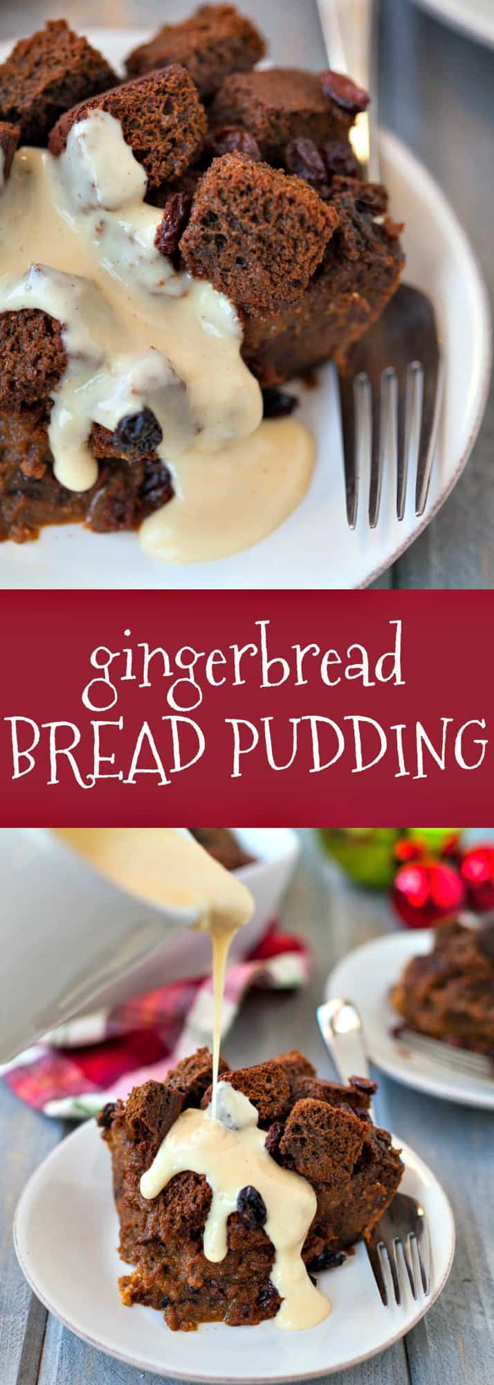 A holiday dessert worth cheering for! This gingerbread bread pudding is packed with whole grain goodness, sweet raisins and gingerbread spices, and topped off with a warm eggnog sauce.