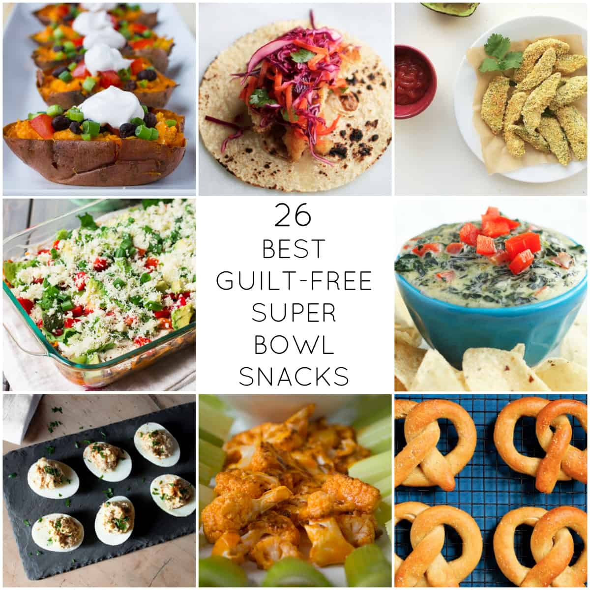 Best Guilt Free Super Bowl Snacks. A round-up of the 26 best guilt-free super bowl snacks for the big game day on Sunday!  | @TheFoodieDietitian