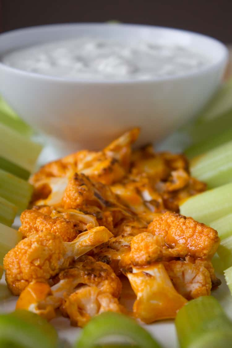 Buffalo Cauliflower Wings with Blue Cheese Dressing | @TheFoodieDietitian