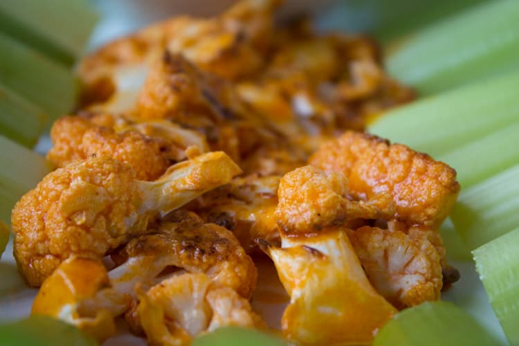 Buffalo Cauliflower Wings with Blue Cheese Dressing