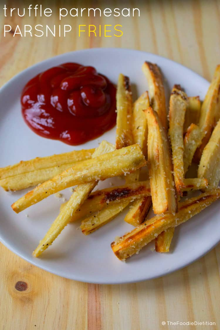Savory with a hint of sweet, these parmesan truffle parsnip fries are an awesome guilt-free game day snack. | @TheFoodieDietitian