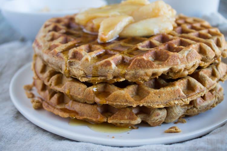 Chai Waffles with Sautéed Pears