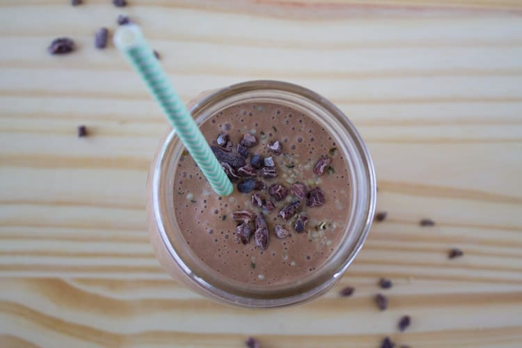 Chocolate Peanut Butter Oatmeal Smoothie - The Foodie Dieittian