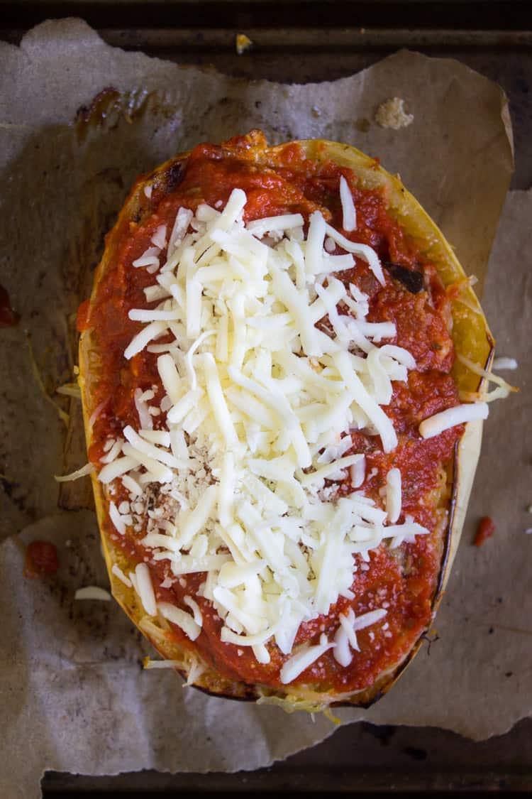 Parmesan Spaghetti Squash Boats | @TheFoodieDietitian