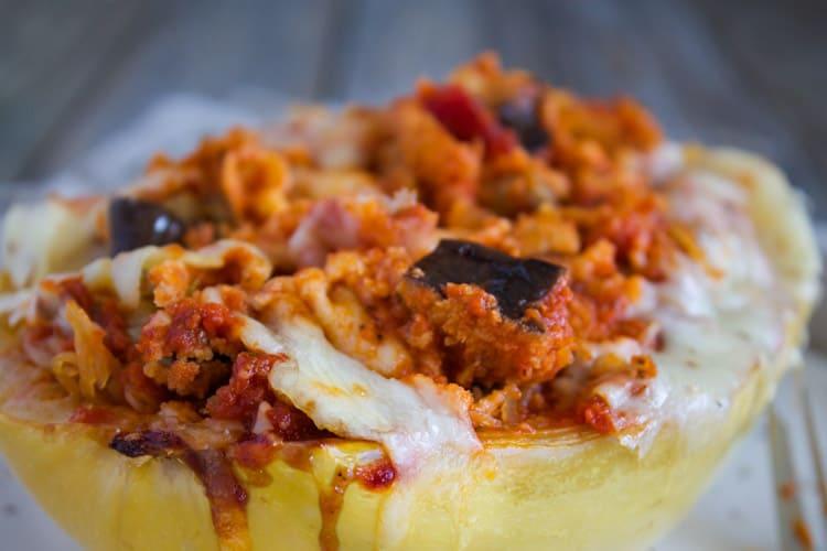 Eggplant Parmesan Spaghetti Squash Boats