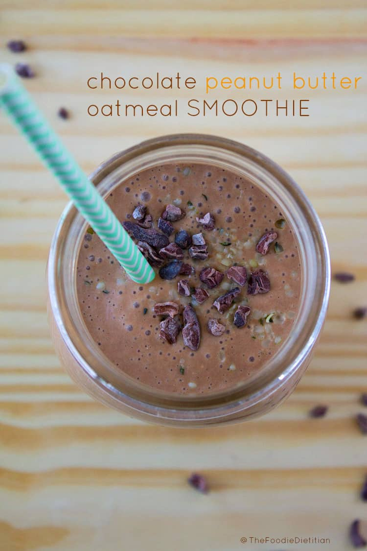 This Chocolate Peanut Butter Oatmeal Smoothie tastes so much like a dessert, you'll be craving it every day. | @TheFoodieDietitian