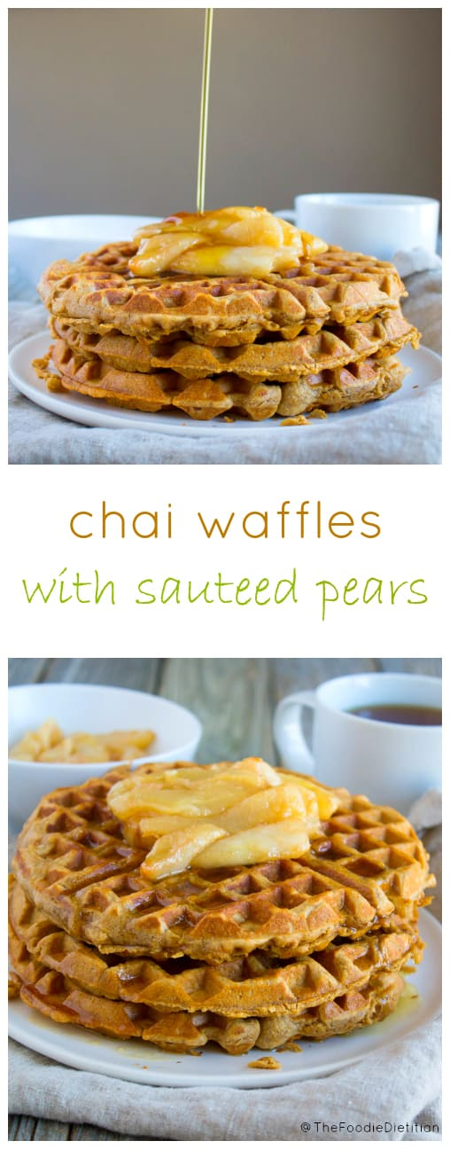 Chai waffles with sautéed pears are a delicious combo of sweet and spice..and everything nice. Perfect for a weekend breakfast with the fam. | @TheFoodieDietitian