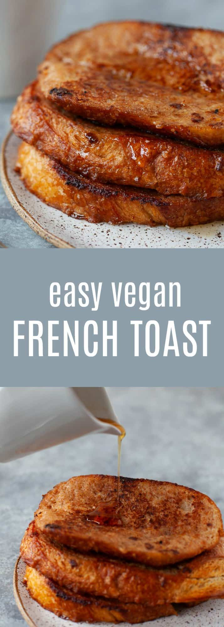 This easy vegan french toast calls for only 5 ingredients! And it's still crispy, sweet and golden-brown. Perfect for Sunday brunch, or my favorite - breakfast for dinner!#vegan #frenchtoast