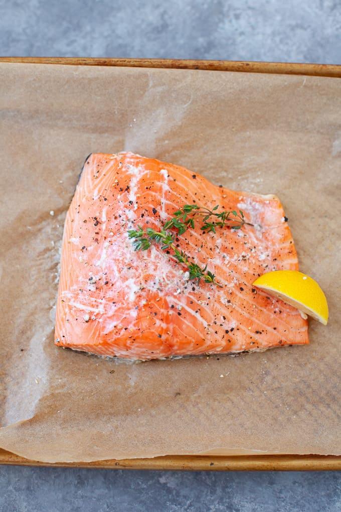 slow cooked salmon with lemon slice