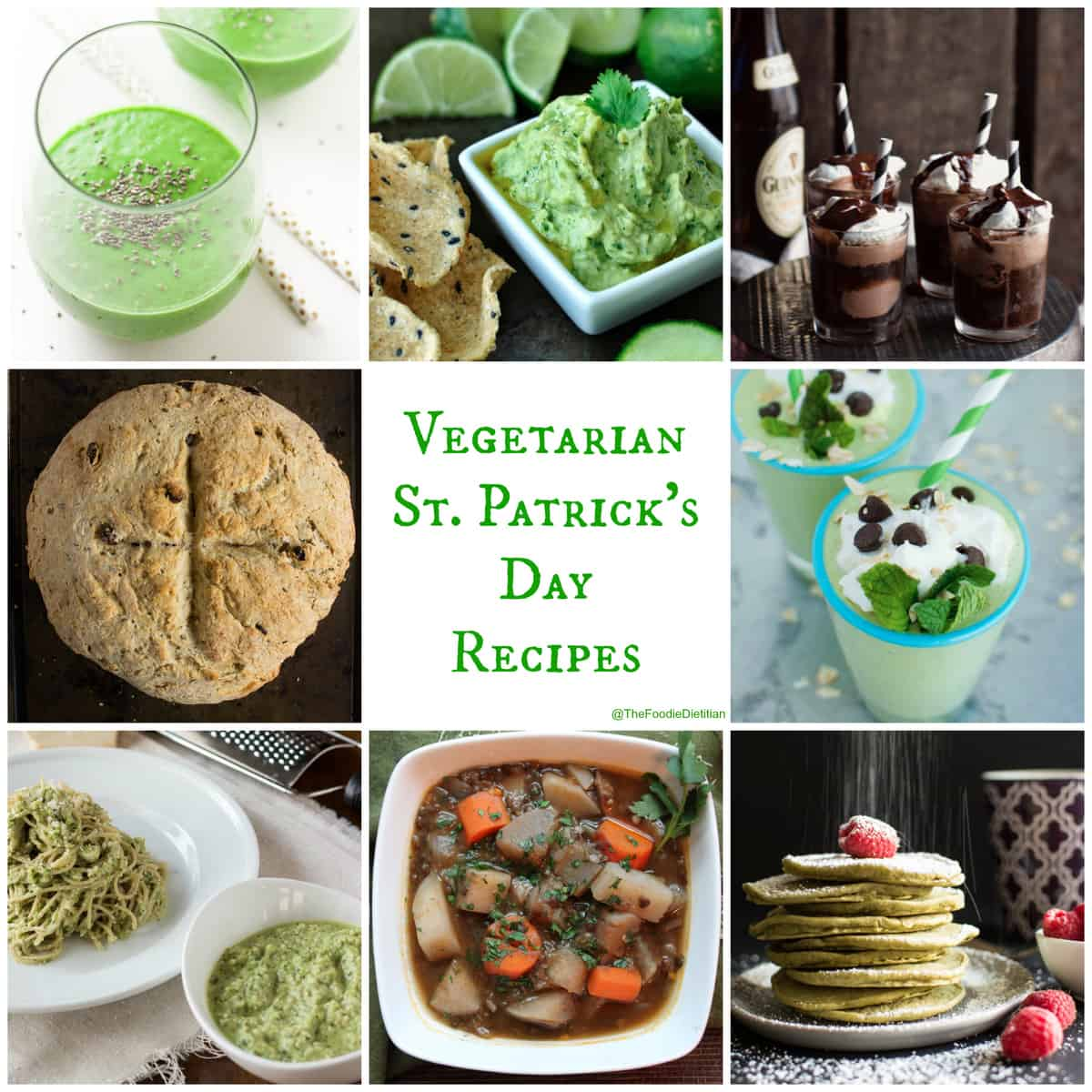 A round-up of my favorite vegetarian St. Patrick's Day recipes...from Irish to green and everything in between! @TheFoodieDietitian