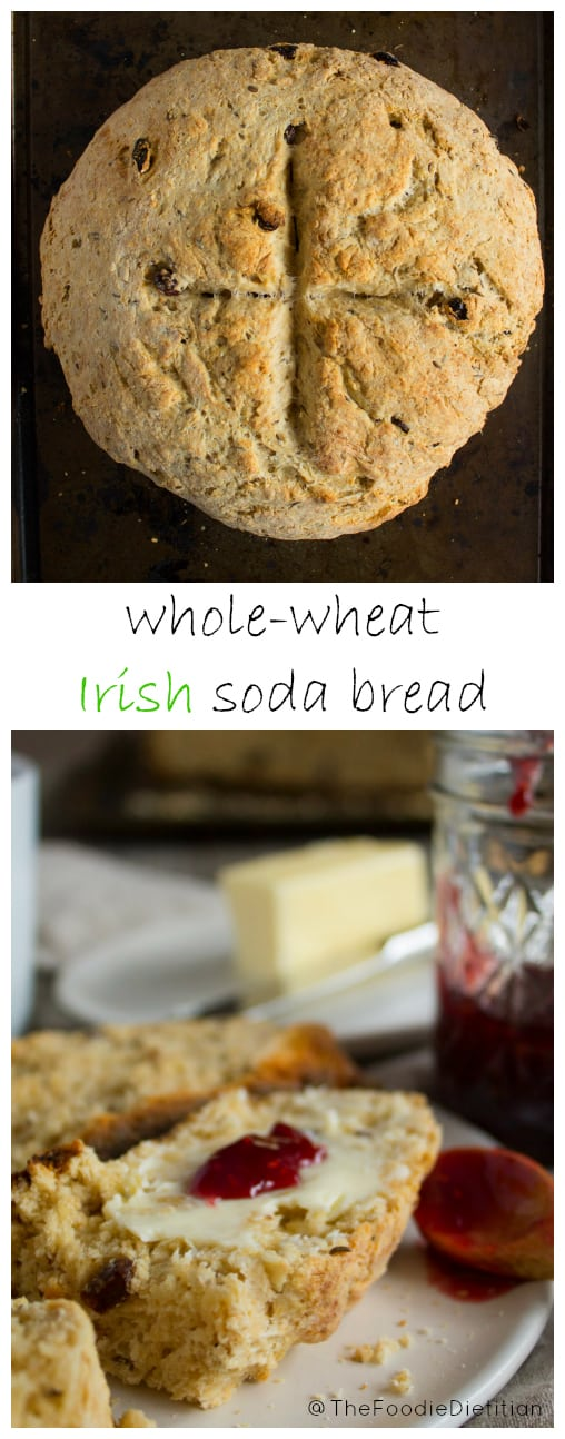 A St. Patrick's Day classic, this Whole Wheat Irish Soda Bread replaces half the grains with whole grains and half the butter with Greek yogurt. Tastes as delicious as the original - you won't know this version is better for you! | @TheFoodieDietitian