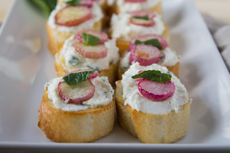 Roasted Radish and Ricotta Crostini | @TheFoodieDietitian