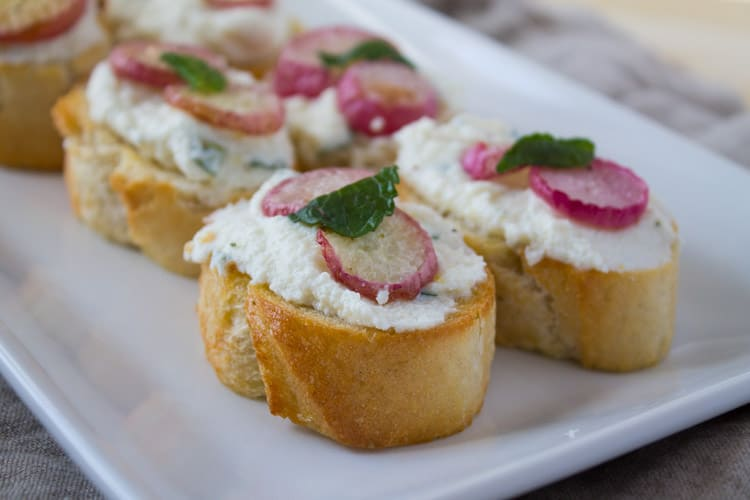 Kara Lydon | Roasted Radish Ricotta Crostini - The Foodie Dietitian