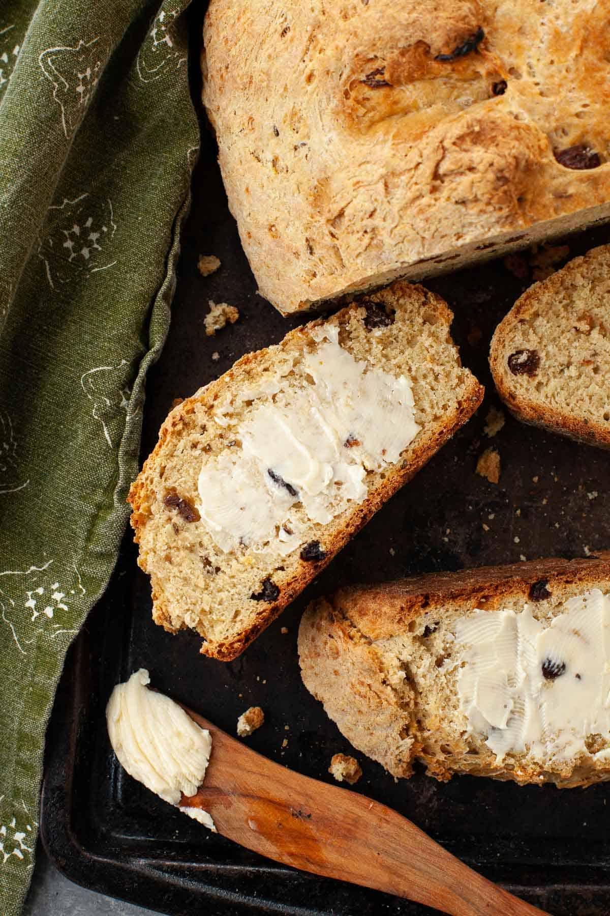 whole wheat irish soda bread with buttery spread