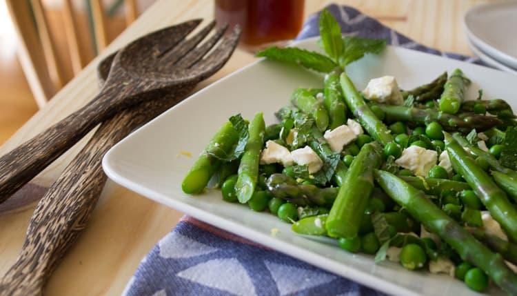 Asparagus Pea and Feta Salad with Lemon Balm Vinaigrette