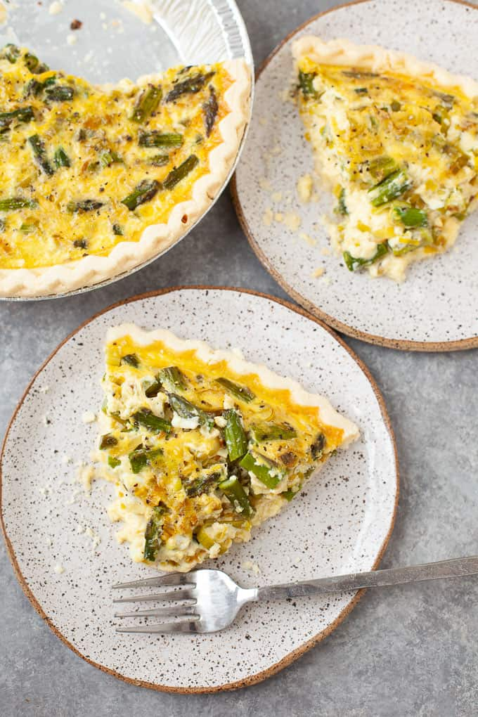 two slices of vegetable quiche