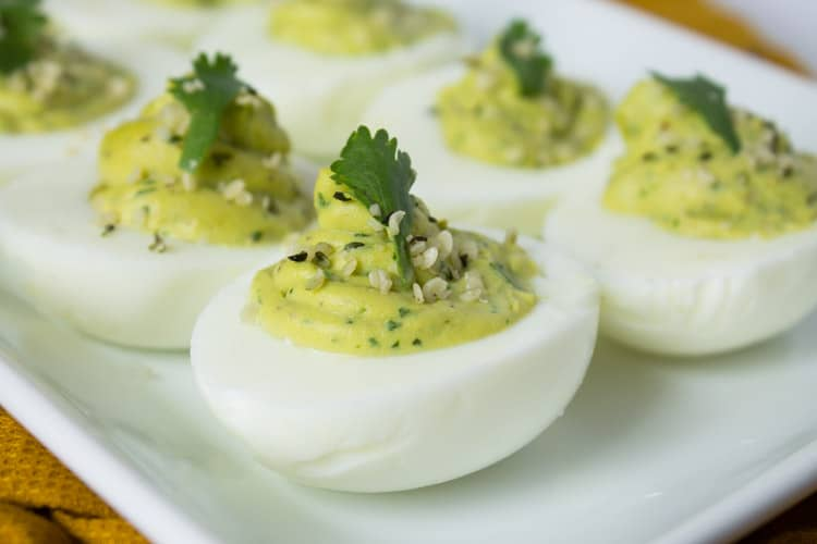 Avocado Hemp Deviled Eggs | @TheFoodieDietitian