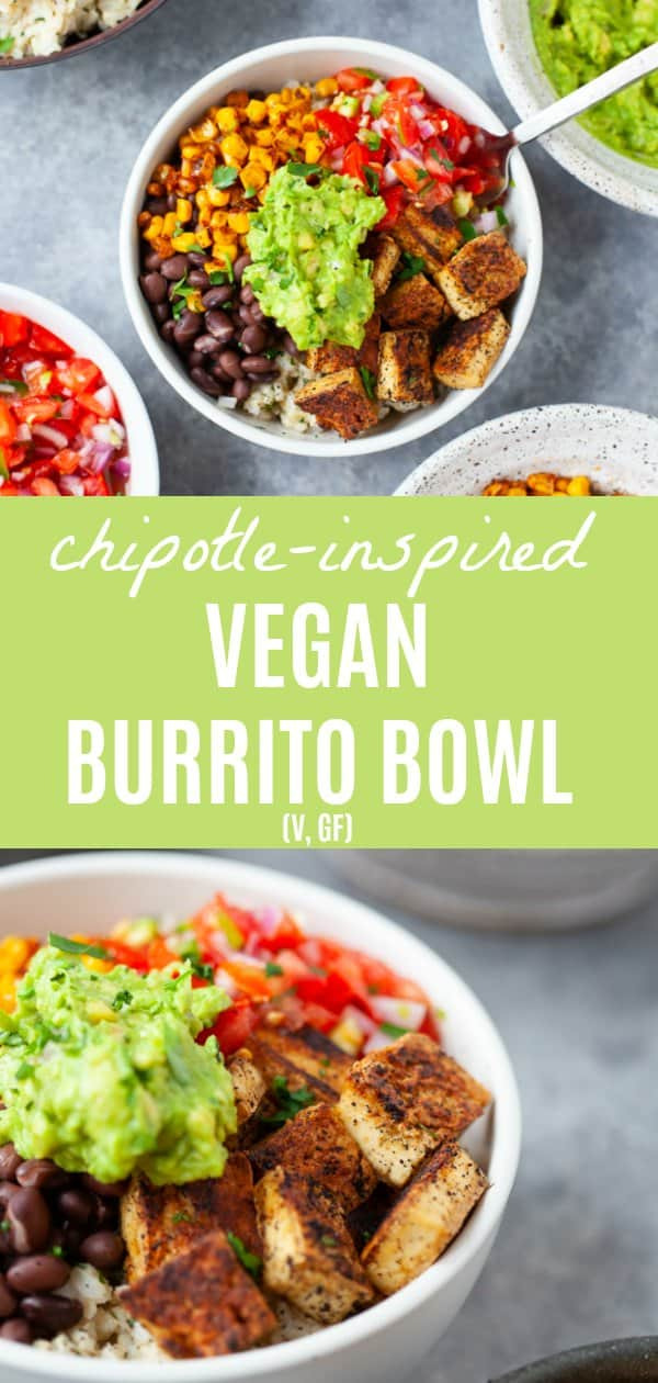 A Chipotle inspired vegan burrito bowl that's bursting with spices and flavor and is more delicious (and easier on the wallet!) than take-out! #vegan #chipotle #burritobowl