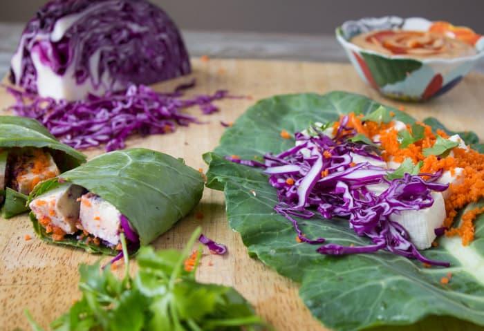 Collard Green Wraps with Tofu and Thai Peanut Sauce | @TheFoodieDietitian