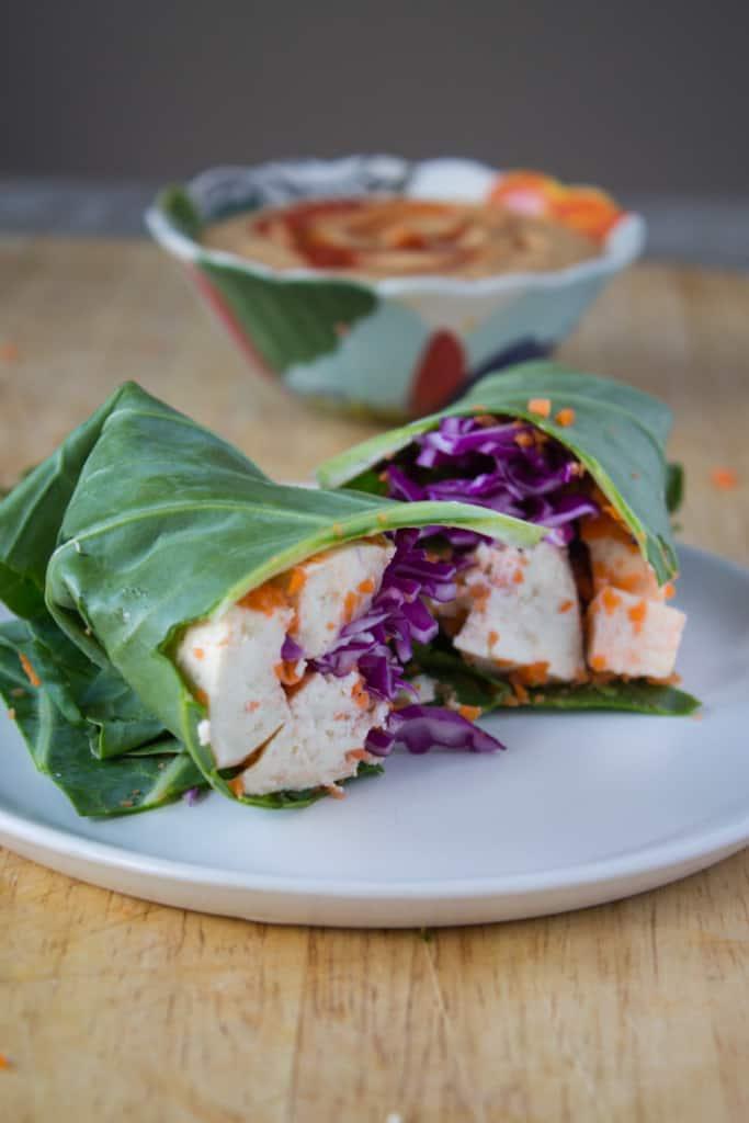 Collard Green Wraps with Thai Peanut Sauce | @TheFoodieDietitian