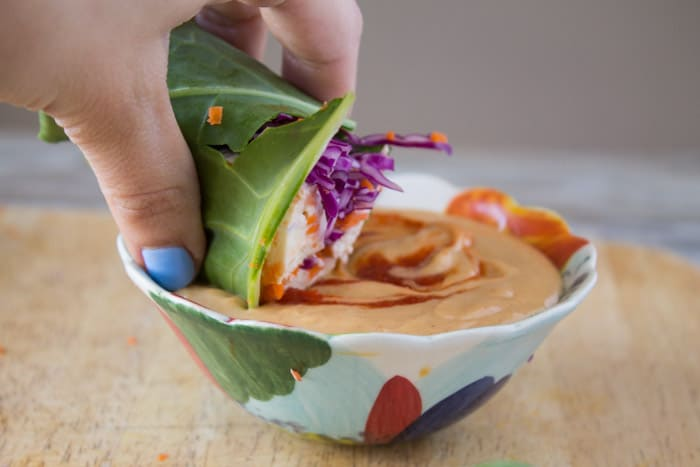 Collard Green Wraps with Tofu and Thai Peanut Sauce-5