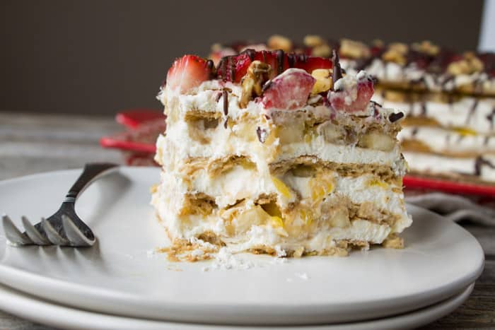 No Bake Banana Split Icebox Cake -4